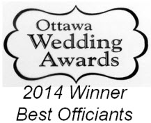 Inaugural Winner - Best Officiants - Ottawa Wedding Industry Professionals Award - 2014
